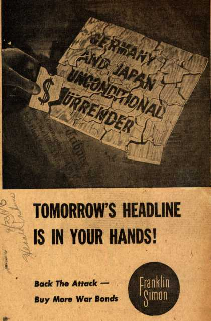 Franklin Simon's War Bonds – Tomorrow's Headline Is In Your Hands (1943)