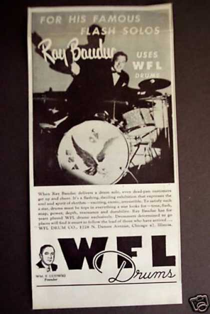 Ray Bauduc Photo Wfl Ludwig Drums (1946)