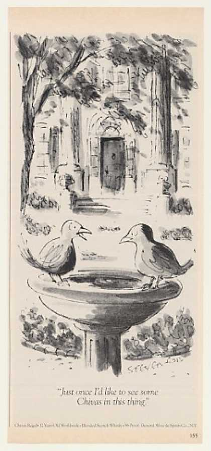 '82 Chivas Regal Whisky Birds Birdbath Stevenson art (1982)