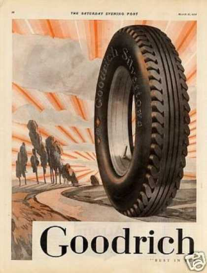 B.f. Goodrich Tire Color Ad 2 Page (1928)