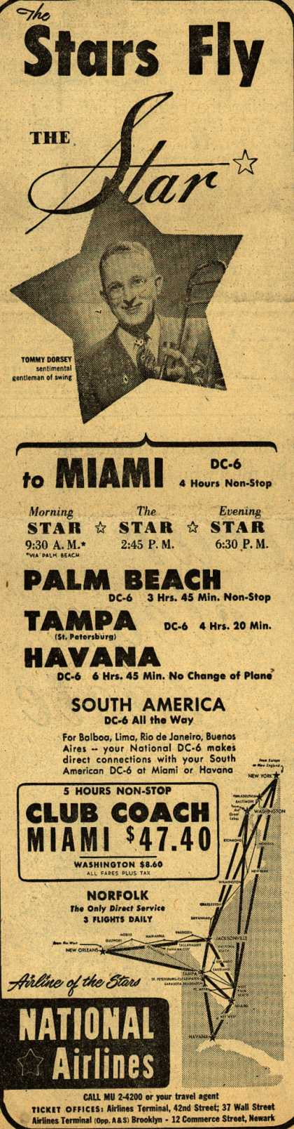 National Airline's various destinations – The Stars Fly THE Star (1950)