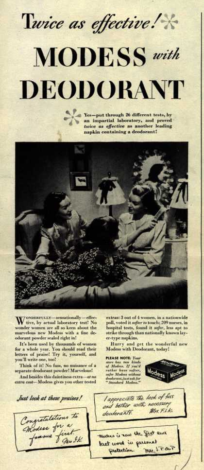 Modes's Sanitary Napkins – Twice as effective! Modess with Deodorant (1945)