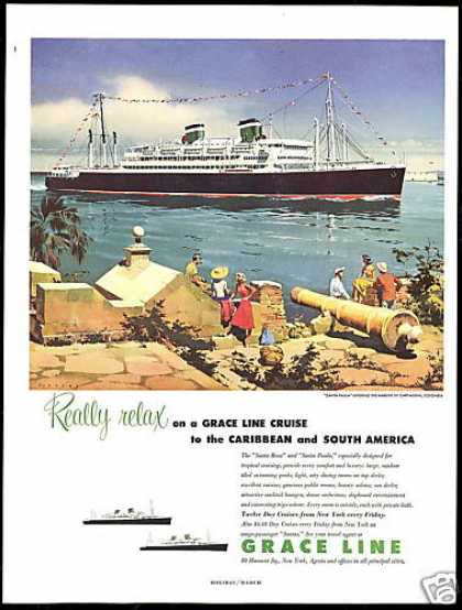 Grace Line Santa Paula Cruise Ship Columbia (1954)