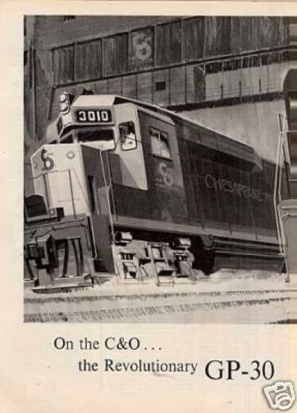 Gm/emd Locomotive Ad Chesapeake & Ohio Gp-30's (1963)