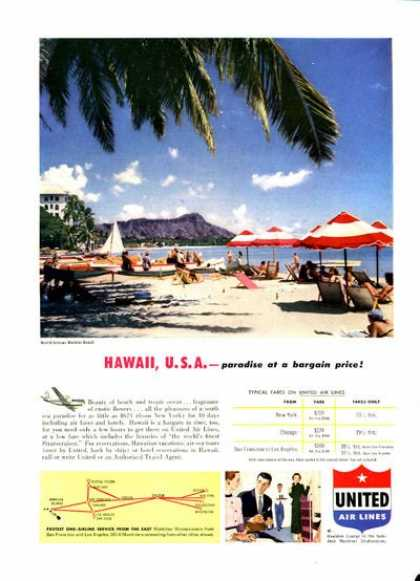 United Airlines Waikki Beach Hawaii (1952)