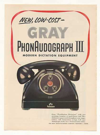 Gray PhonAudograph III Dictation Phone (1954)