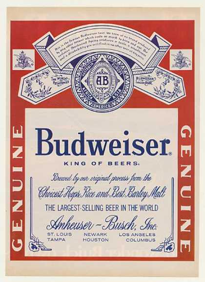 Bud Budweiser Beer Large Label (1968)