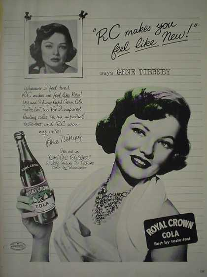RC Royal Crown Cola Soda Gene Tierney (1950)
