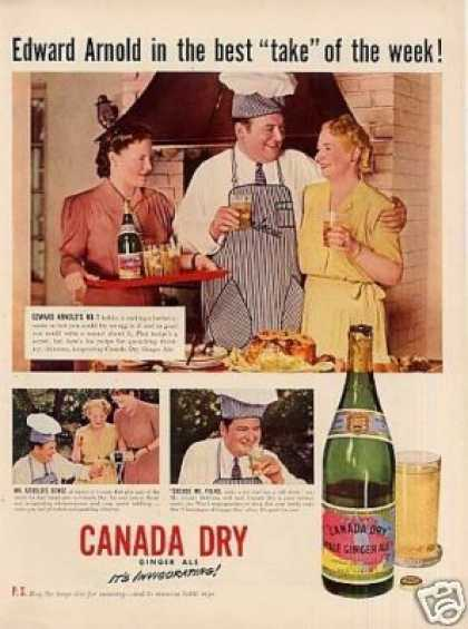 Canada Dry Ginger Ale Ad Edward Arnold (1942)