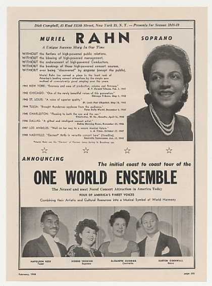 Muriel Rahn One World Ensemble Photo Booking (1948)