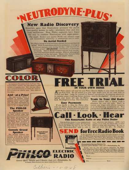 Philco Electric Radio's Various – 'Neutrodyne-Plus' (1928)