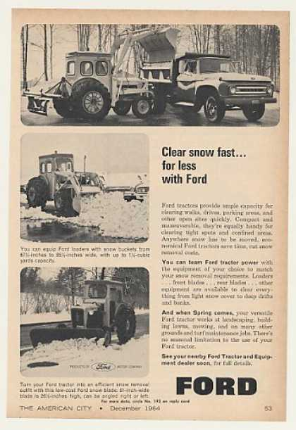 Ford Tractor Loader Snow Bucket Blade Photo (1964)