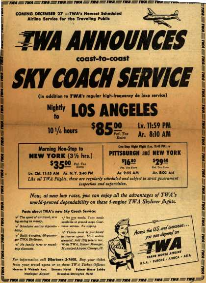 Trans World Airline's Sky Coach – TWA Announces coast-to-coast Sky Coach Service (1949)
