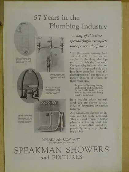 Speakman showers and fixtures. 57 years in the plumbing industry (1926)