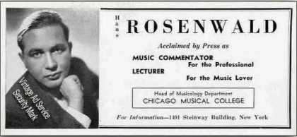 "Hans Rosenwald ""Lecturer for the Music Lover"" (1939)"