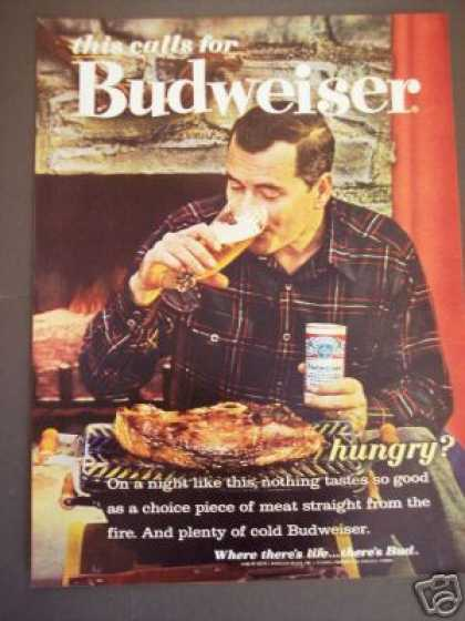 Original Budweiser Beer Huge Steak (1962)