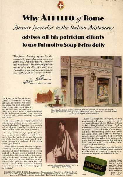 Colgate-Palmolive-Peet Company's Palmolive Soap – Why Attilio of Rome advises all his patrician clients to use Palmolive Soap twice daily (1929)