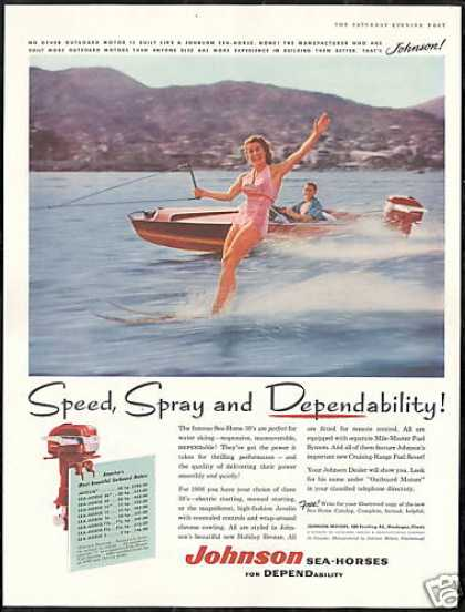 Johnson Sea Horse Outboard Boat Motor Skiing (1956)
