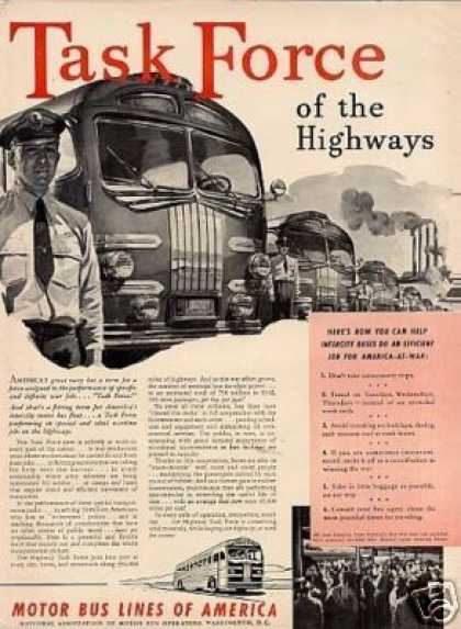 "Motor Bus Lines of America Ad ""Task Force... (1942)"