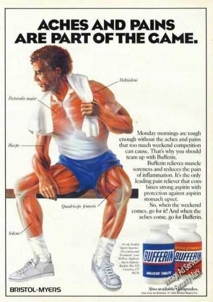 Sport Aches and Pains Art Old Bufferin Advertising (1984)