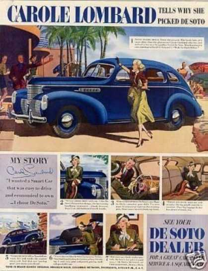 Desoto Car Color Ad Carole Lombard (1939)