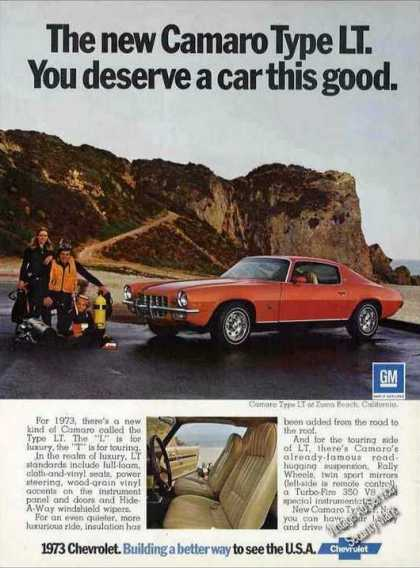 Chevrolet Camaro Type Lt Collectible Car Ad Chevy (1973)