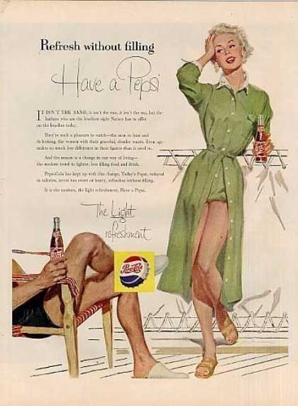 "Pepsi-cola Ad ""Refresh Without Filling... (1955)"