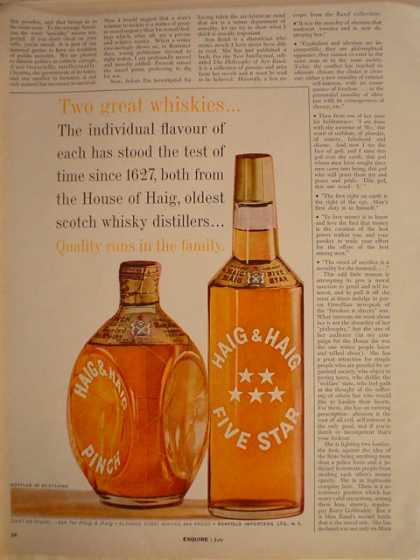 Haig and Haig 5 star whiskey Quality runs in the family (1961)