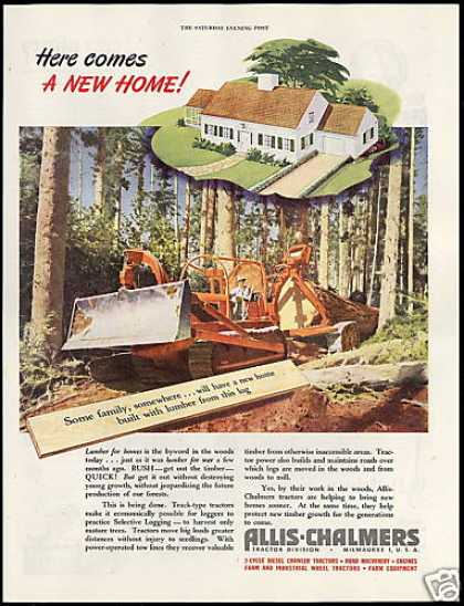 Allis Chalmers Track Tractor Logging Timber (1946)