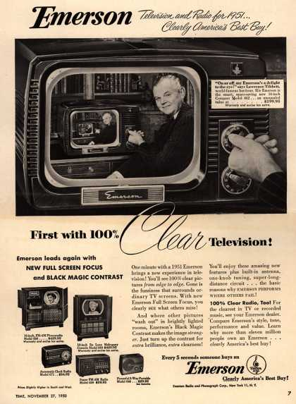 Emerson Radio and Phonograph Corporation's Various – Emerson Television and Radio for 1951... Clearly America's Best Buy! First with 100% clear Television (1950)
