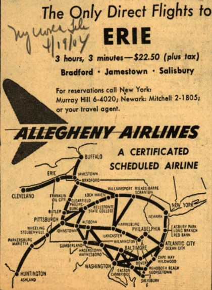 Allegheny Airline's Erie – The Only Direct Flights to Erie (1954)
