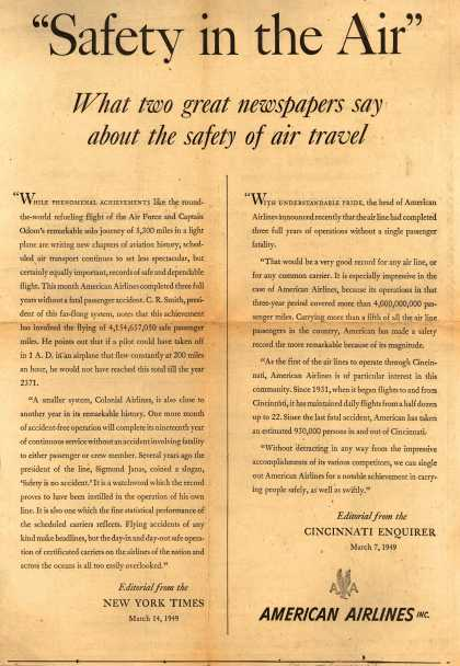 "American Airlines – ""Safety in the Air"" What Two Great Newspapers Say About the Safety of Air Travel (1949)"