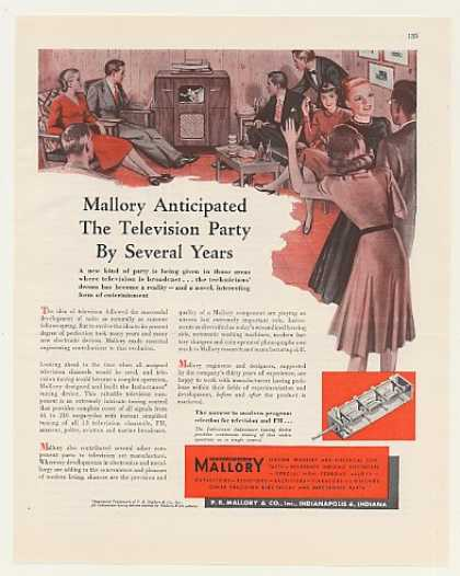 Mallory TV Inductuner Television Party (1948)