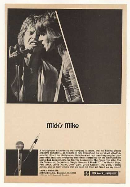Rolling Stones Mick Jagger Shure Mike Photo (1975)