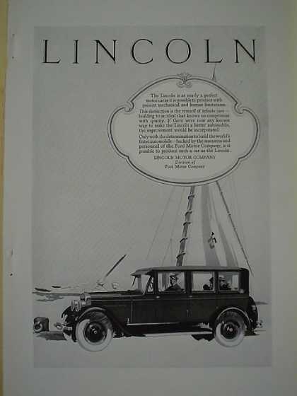 Lincoln Motor Company Div of Ford Distinction Sailboat (1926)