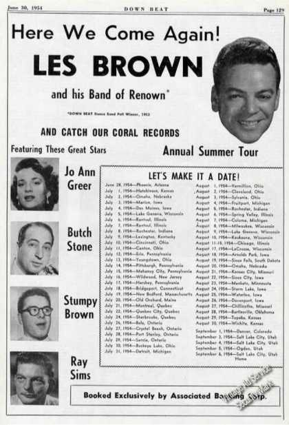 Les Brown Photo Rare Tour Schedule Music (1954)