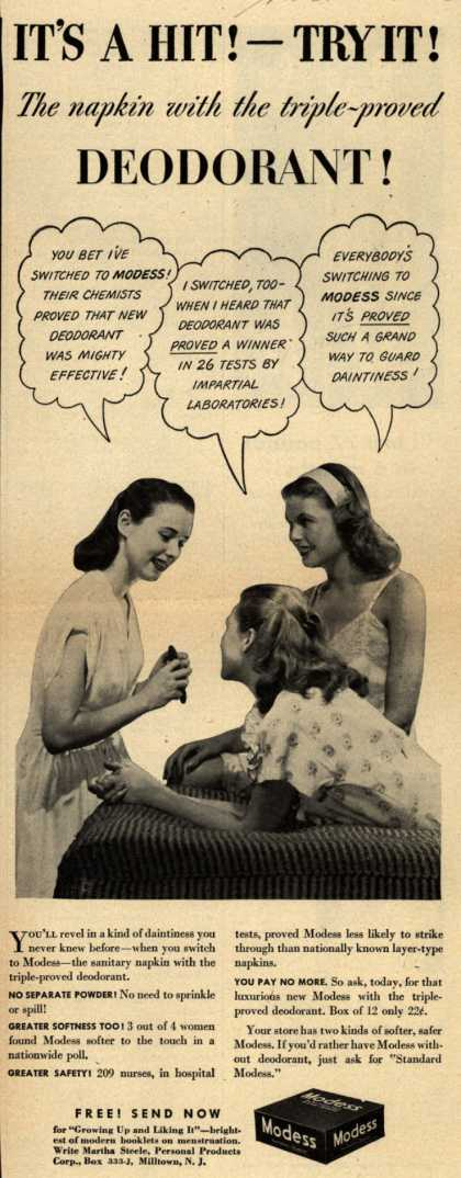 Modes's Sanitary Napkins – It's A Hit! Try It! The napkin with the triple-proved DEODORANT (1945)