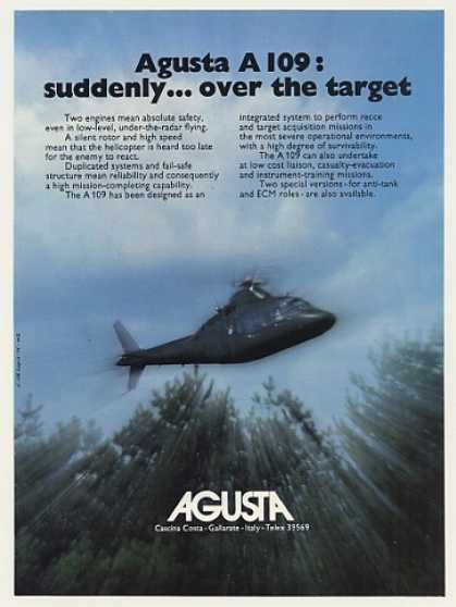 Agusta A 109 Helicopter Over the Target Photo (1975)