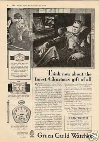 "Gruen Watches Ad ""Think Now About... (1928)"