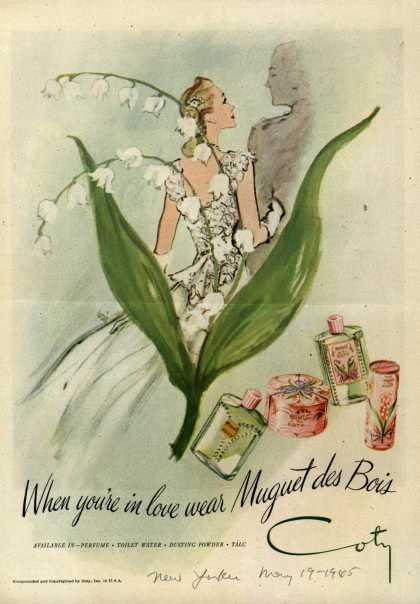 Coty's Muguet des Bois Cosmetics – When you're in love wear Muguet des Bois (1945)