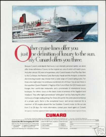Cunard Cruise Line 3 Ship Art (1988)