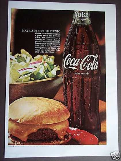 Fireside Picnic Coca-cola Bottle Coke (1967)