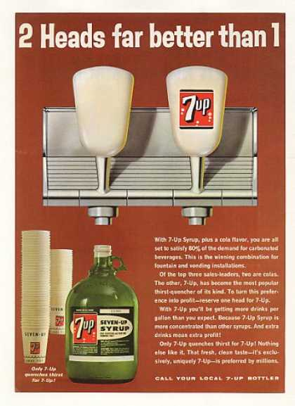 7-Up Syrup Bottle 2 Fountain Heads (1965)