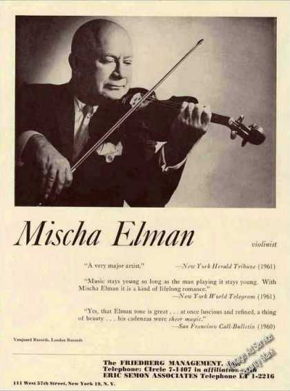 Mischa Elman Photo Violinist Booking (1962)