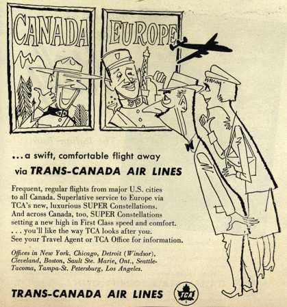 Trans-Canada Air Lines – ...a swift, comfortable flight away via Trans-Canada Air Lines (1954)