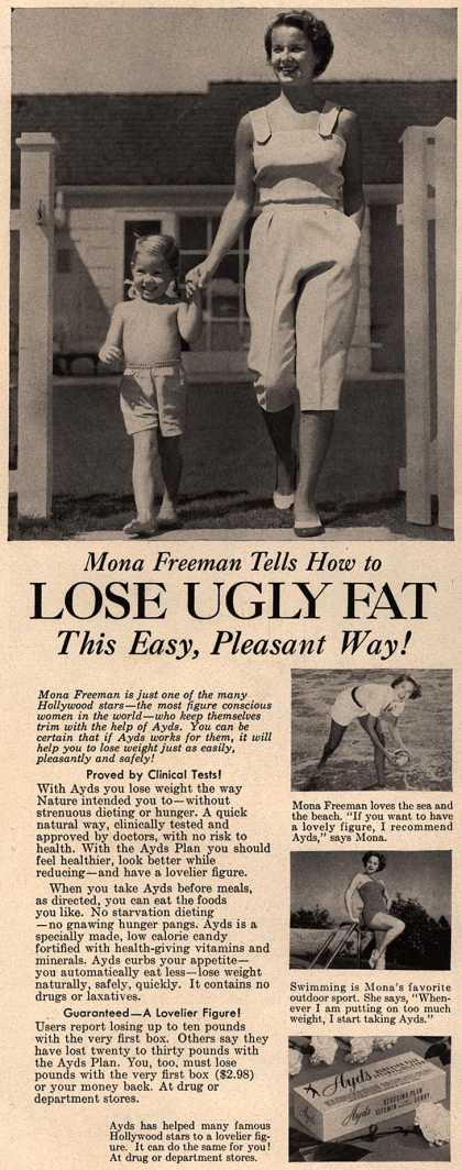 Carlay Company, Incorporated's Ayds – Mona Freeman Tells How to Lose Ugly Fat This Easy, Pleasant Way (1954)