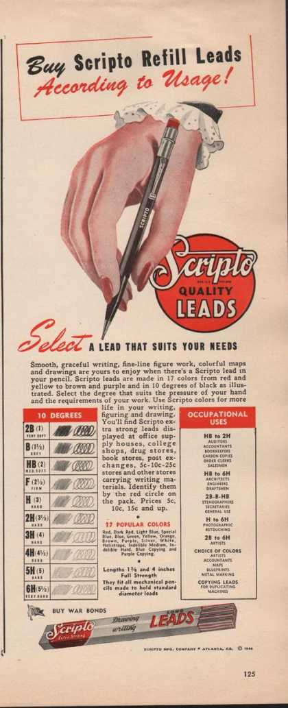 Scripto Quality Lead Refill for Pencils (1942)