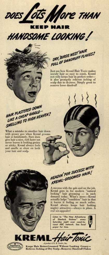 R.B. Semler's hair tonic – Does Lots More Than Keep Hair Handsome Looking (1946)