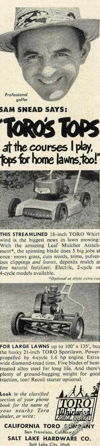 Sam Snead Photo Toro Whirlwind Power Mowers (1953)