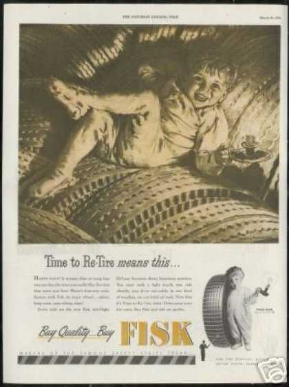 Fisk Tire Young Boy Candlestick Anderson Art (1946)